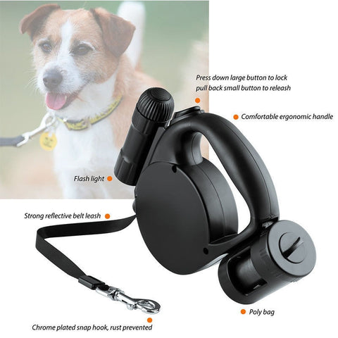 Retractable Dog Leash with LED Flashlight and Bag Dispenser