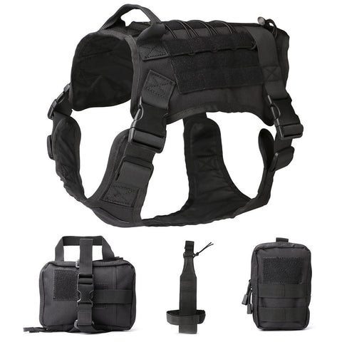 Water Resistant Military Patrol Dog Harness Suit with Kettle Set Sundries Bags and Commuter Bag