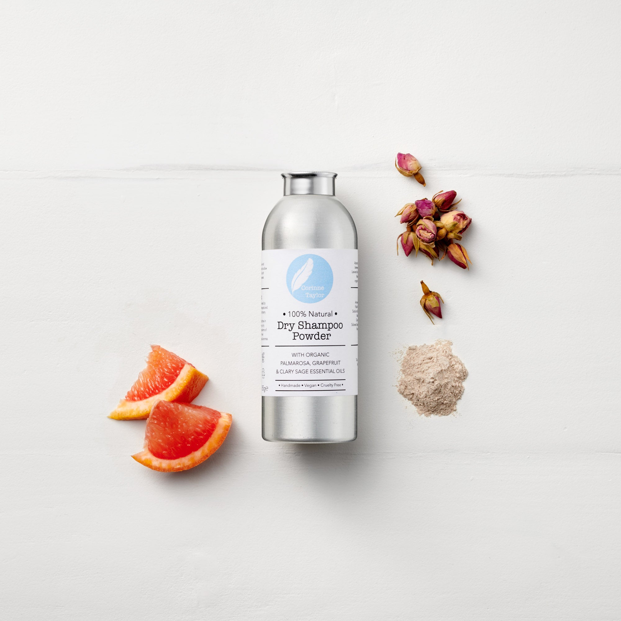 100% natural, certified cruelty free and vegan Dry Shampoo Powder by Corinne Taylor