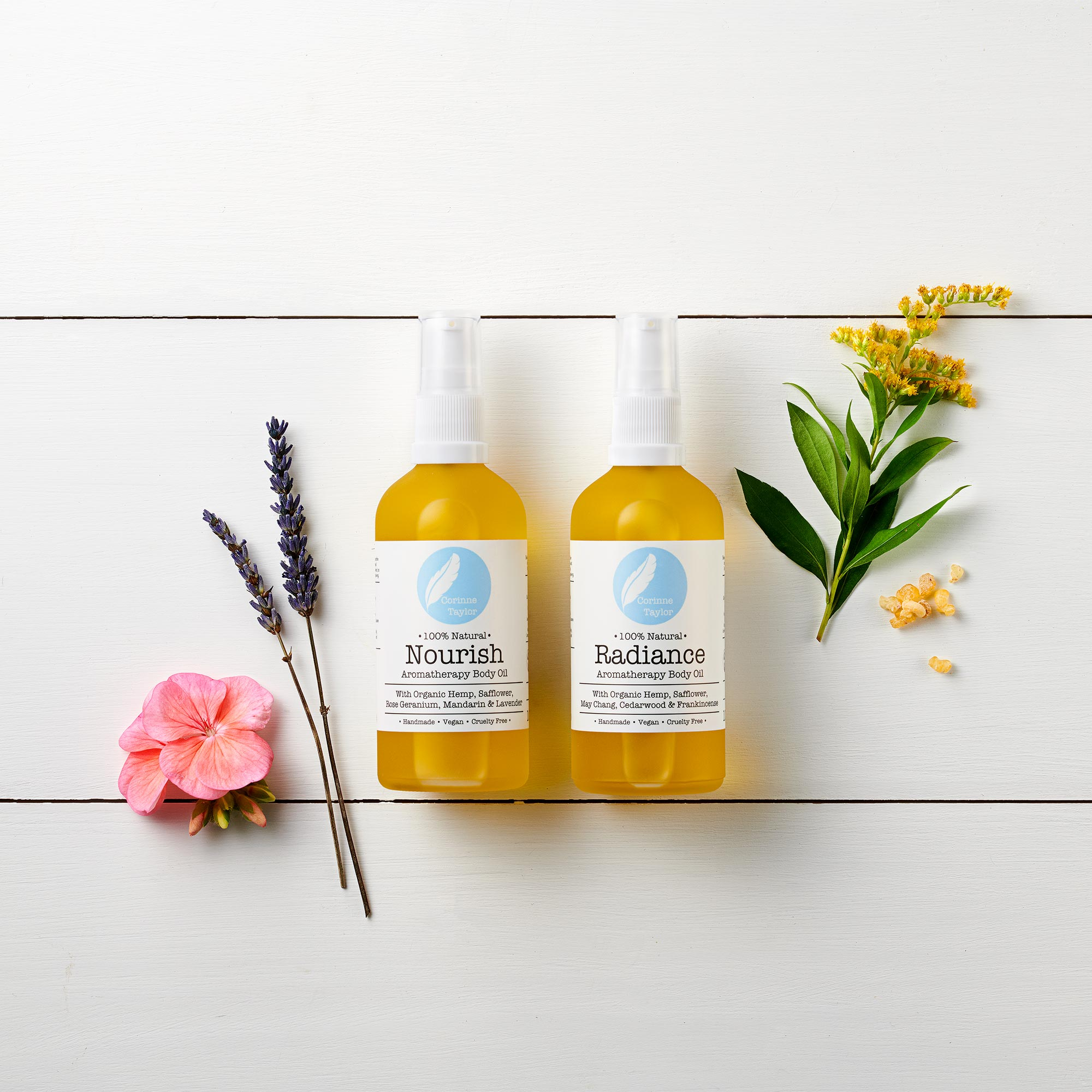 100% natural, vegan, cruelty free and organic body oils by Corinne Taylor.