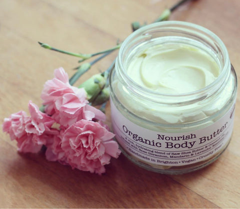 Nourish organic body butter by Corinne Taylor. 100% natural, vegan friendly and cruelty free.