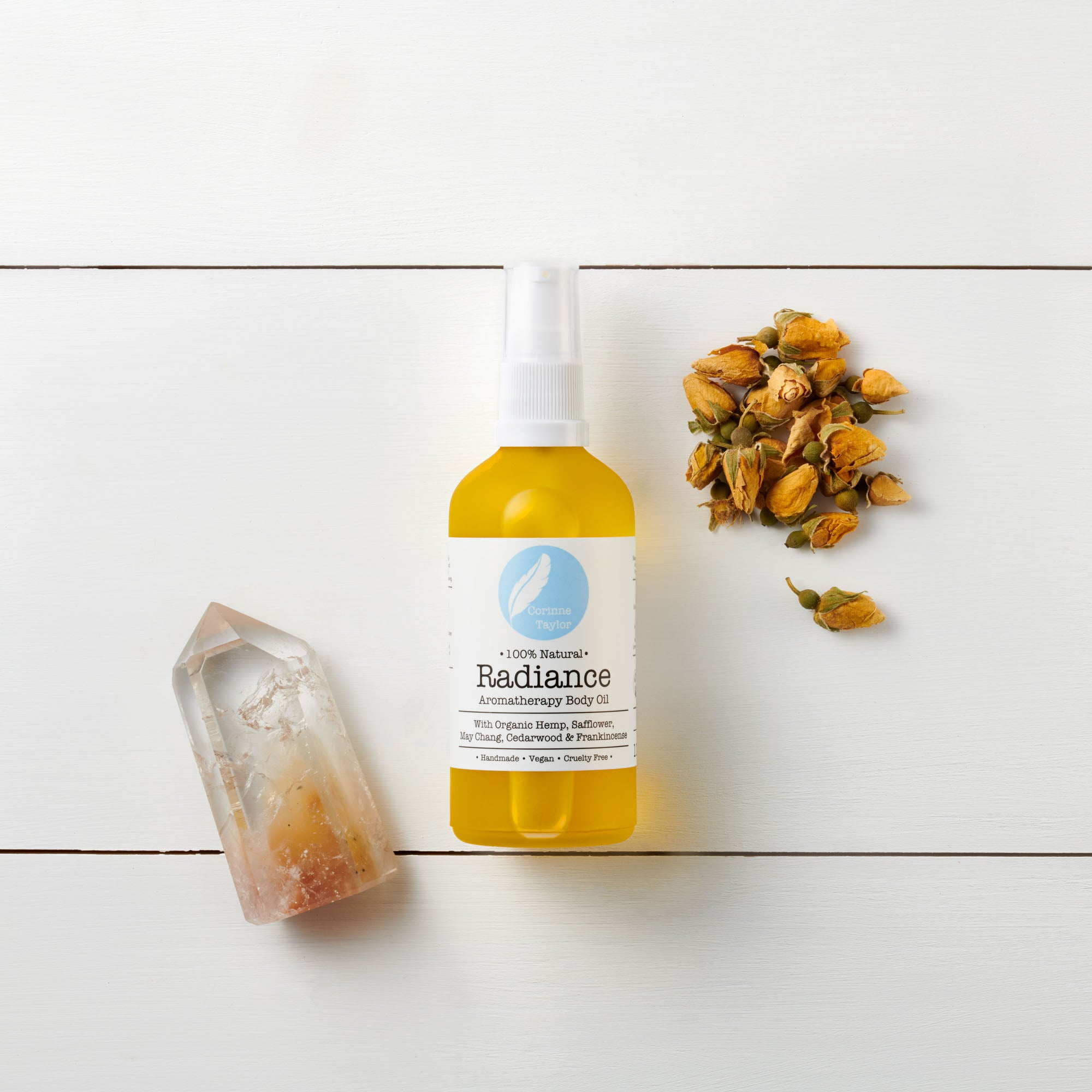 Radiance organic aromatherapy body oil with Hemp, safflower, Jojoba, Frankincense & Cedarwood. Vegan & cruelty free.