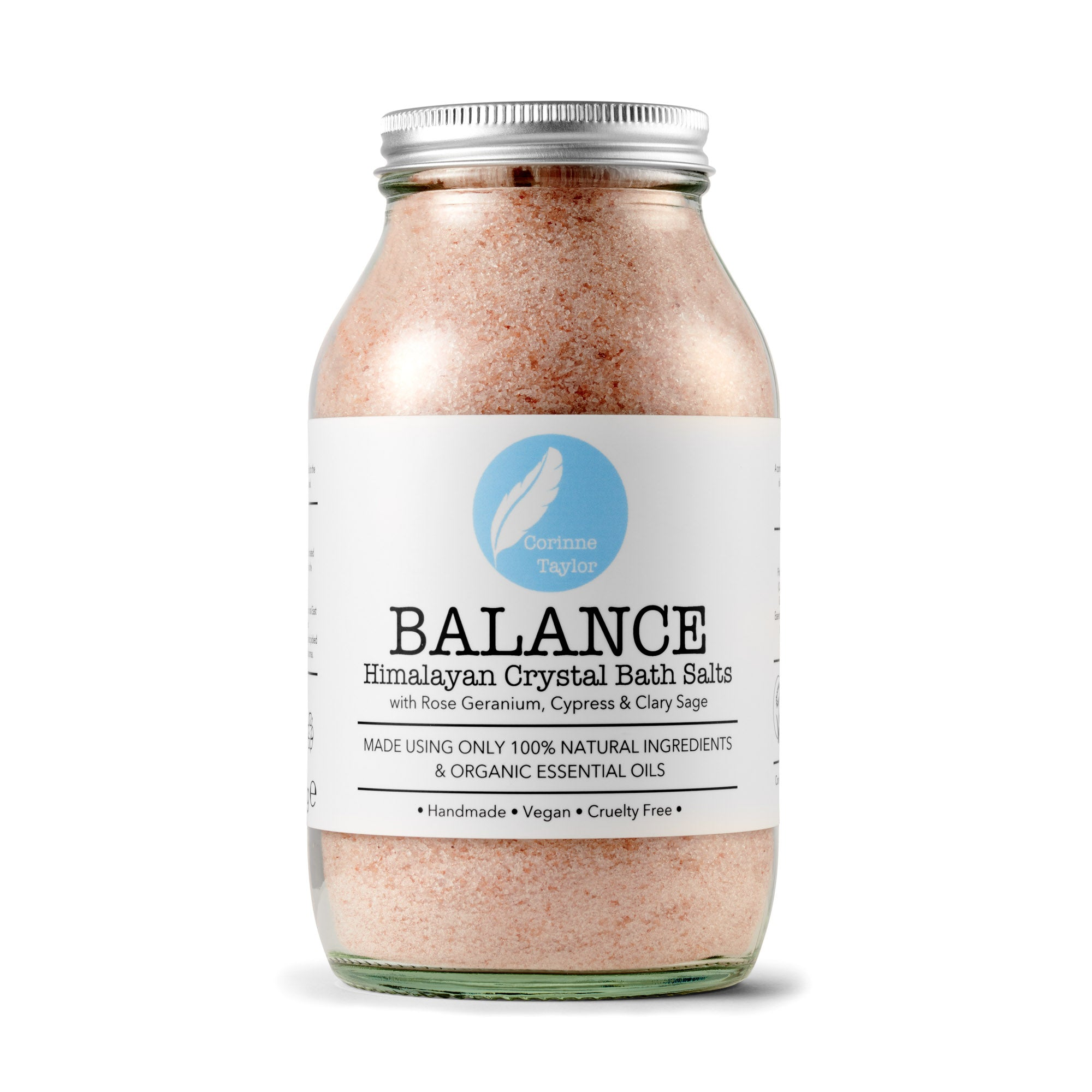 Balance Himalayan Bath Salts by Corinne Taylor. 100% natural, vegan, cruelty free, plant based. With organic Rose Geranium, Clary Sage and Cypress essential oils.