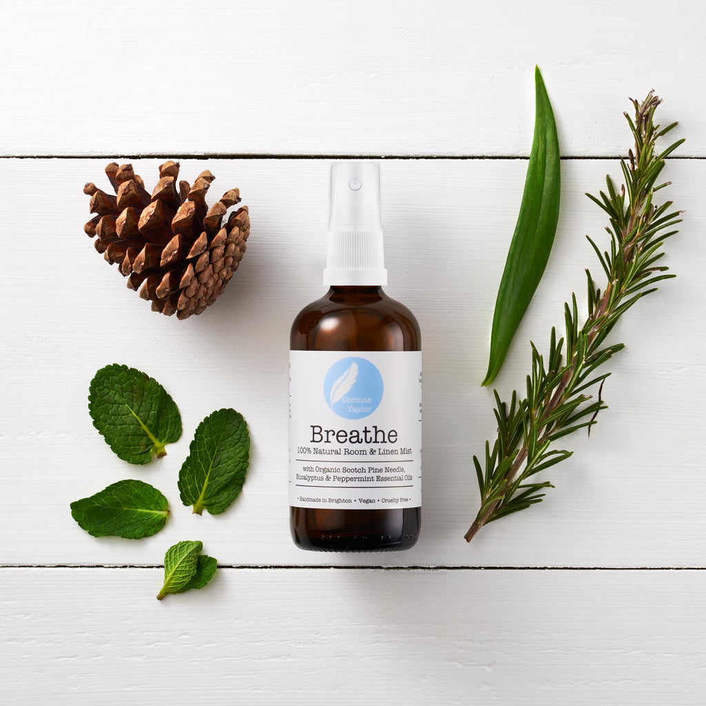Breathe Aromatherapy room and linen mist by Corinne Taylor. 100% natural, vegan, plant based, cruelty free. With organic Scotch Pine, Rosemary, Eucalyptus and Peppermint essential oils.