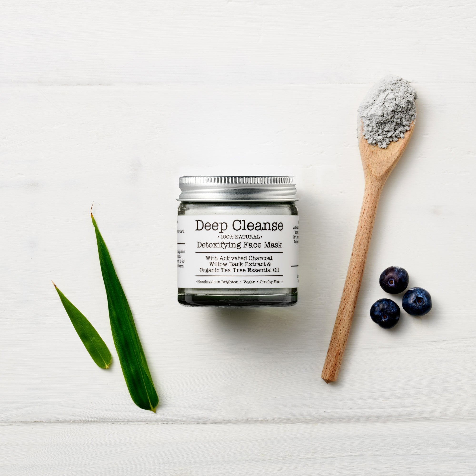 Deep Cleanse mineral botanical face mask by Corinne Taylor. 100% natural, vegan, plant based, cruelty free. Formulated with a mixture of Bentonite Clay, Kaolin and Activated Charcoal and an anti bacterial blend of organic Tea Tree, Eucalyptus & Juniper Berry essential oils.