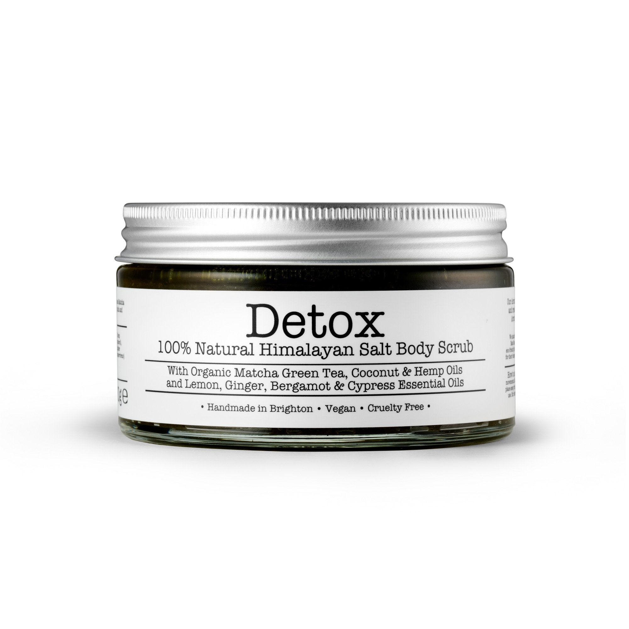 Detox Himalayan Salt Body Scrub by Corinne Taylor. 100% natural, vegan, plant based, cruelty free. Made with a combination of organic Coconut, Hemp and Sweet Almond Oils along with vitamin E and organic Lemon, Ginger, Bergamot and Cypress essential oils.