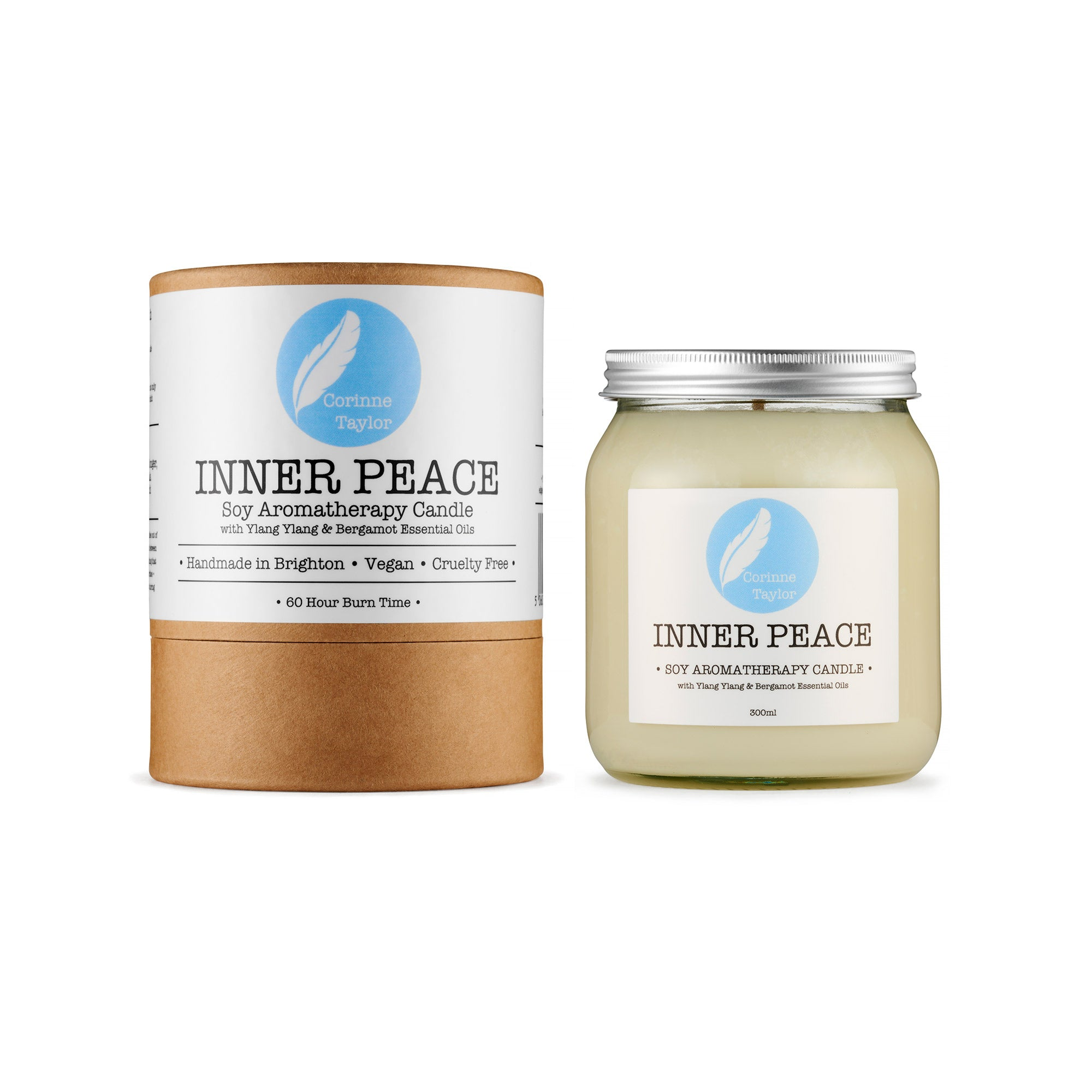 Inner Peace Soy Aromatherapy candle by Corinne Taylor. 100% natural, vegan, plant based, cruelty free. With Ylang Ylang & Bergamot essential oils. A calming, relaxing aroma, rich with floral and citrus notes.