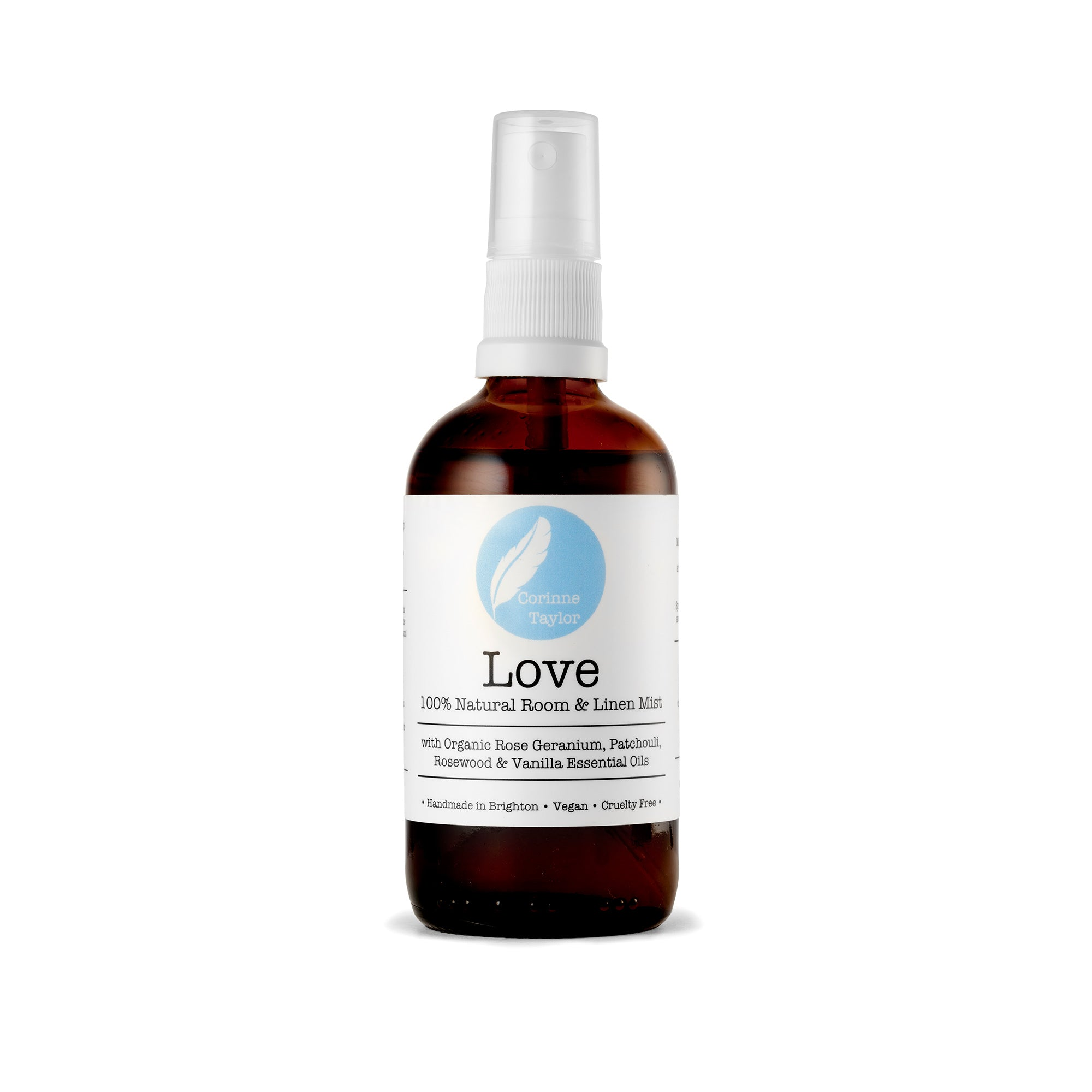 Love Aromatherapy room and linen mist by Corinne Taylor. 100% natural, vegan, plant based, cruelty free. With organic Rose Geranium, Rosewood, Patchouli & Vanilla essential oils.