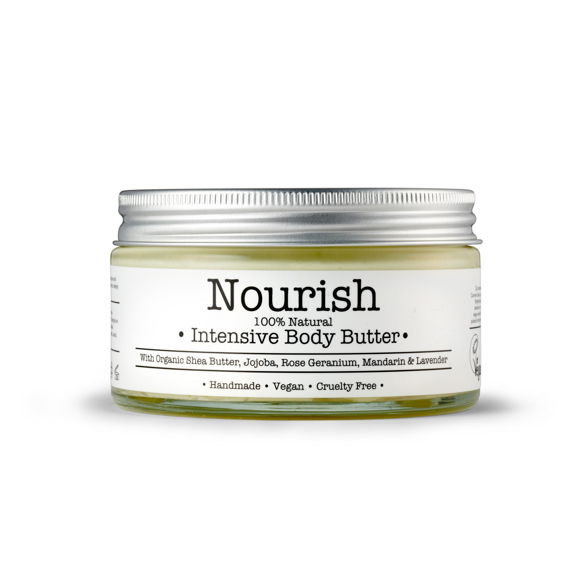 Nourish Organic Body Butter by Corinne Taylor. 100% natural, vegan, plant based, cruelty free. Made with soothing and hydrating Shea Butter, Coconut Oil and restorative Avocado and Jojoba Oils and a blend of organic Rose Geranium, Tangerine & Lavender Essential Oils.