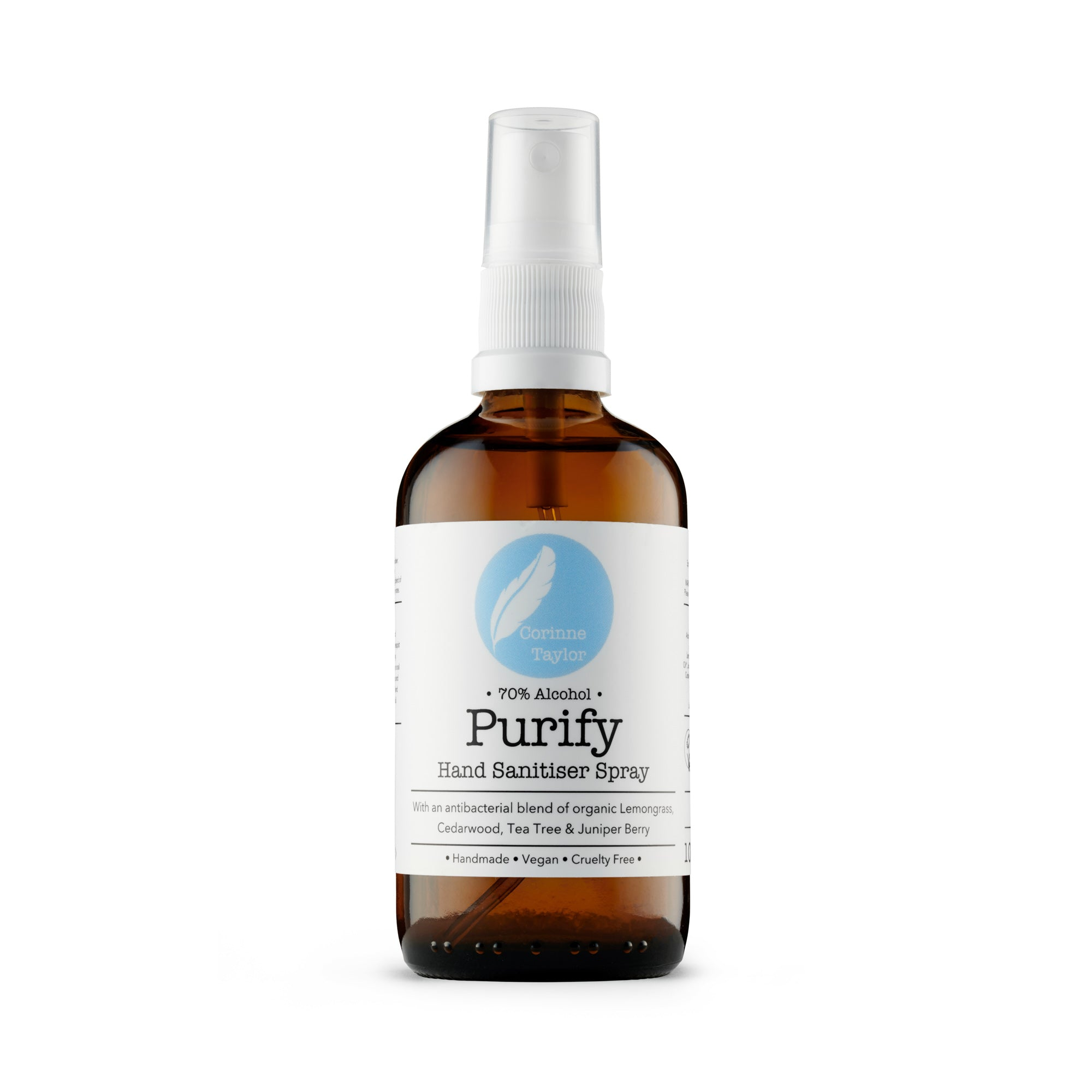 Purify cleansing hand sanitiser by Corinne Taylor. 100% natural, vegan, cruelty free, organic. 70% alcohol with antibacterial tea tree, lemon, lemongrass, juniper berry and cedarwood essential oils.