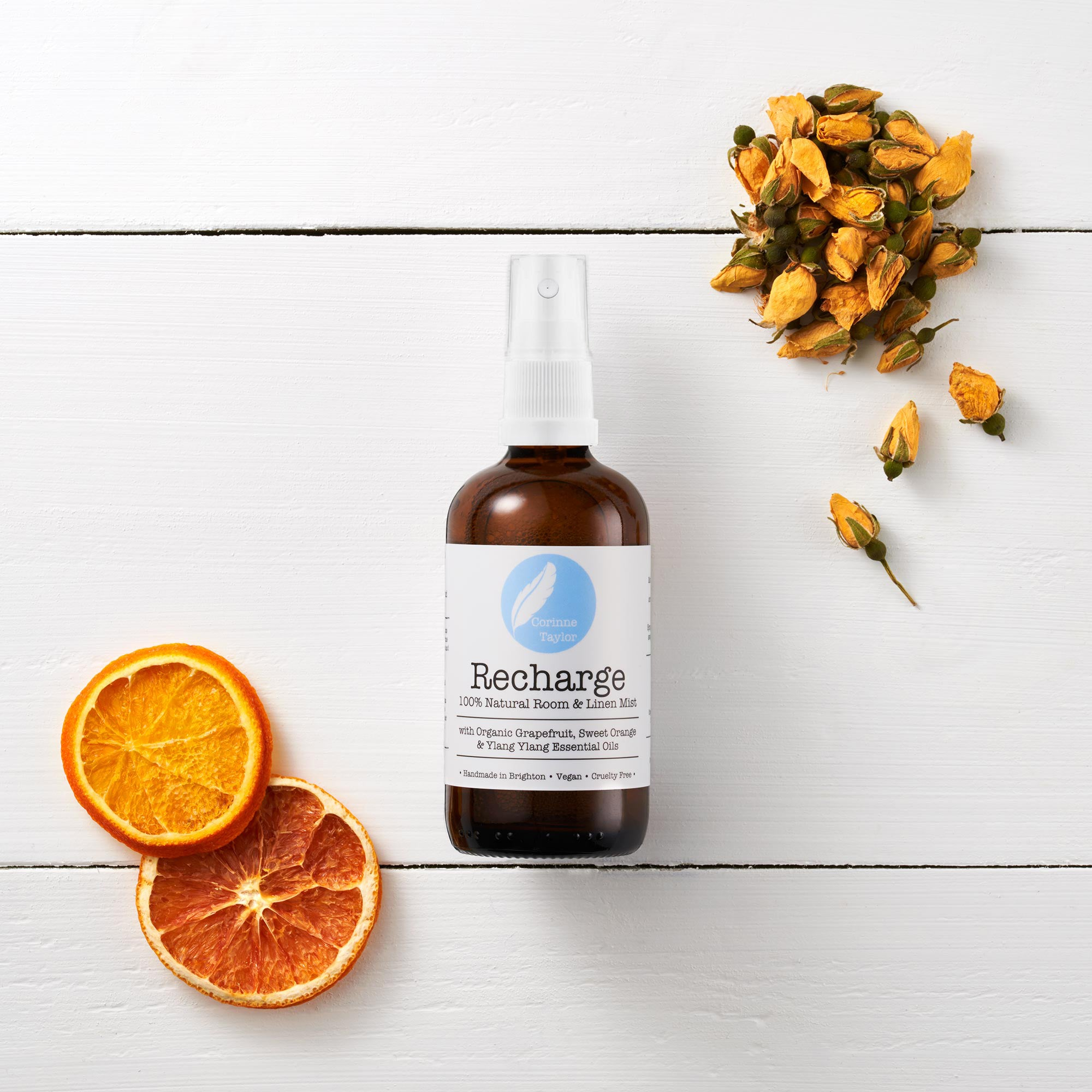 Recharge Aromatherapy room and linen mist by Corinne Taylor. 100% natural, vegan, plant based, cruelty free. With organic Grapefruit, Sweet Orange and Ylang Ylang essential oils.