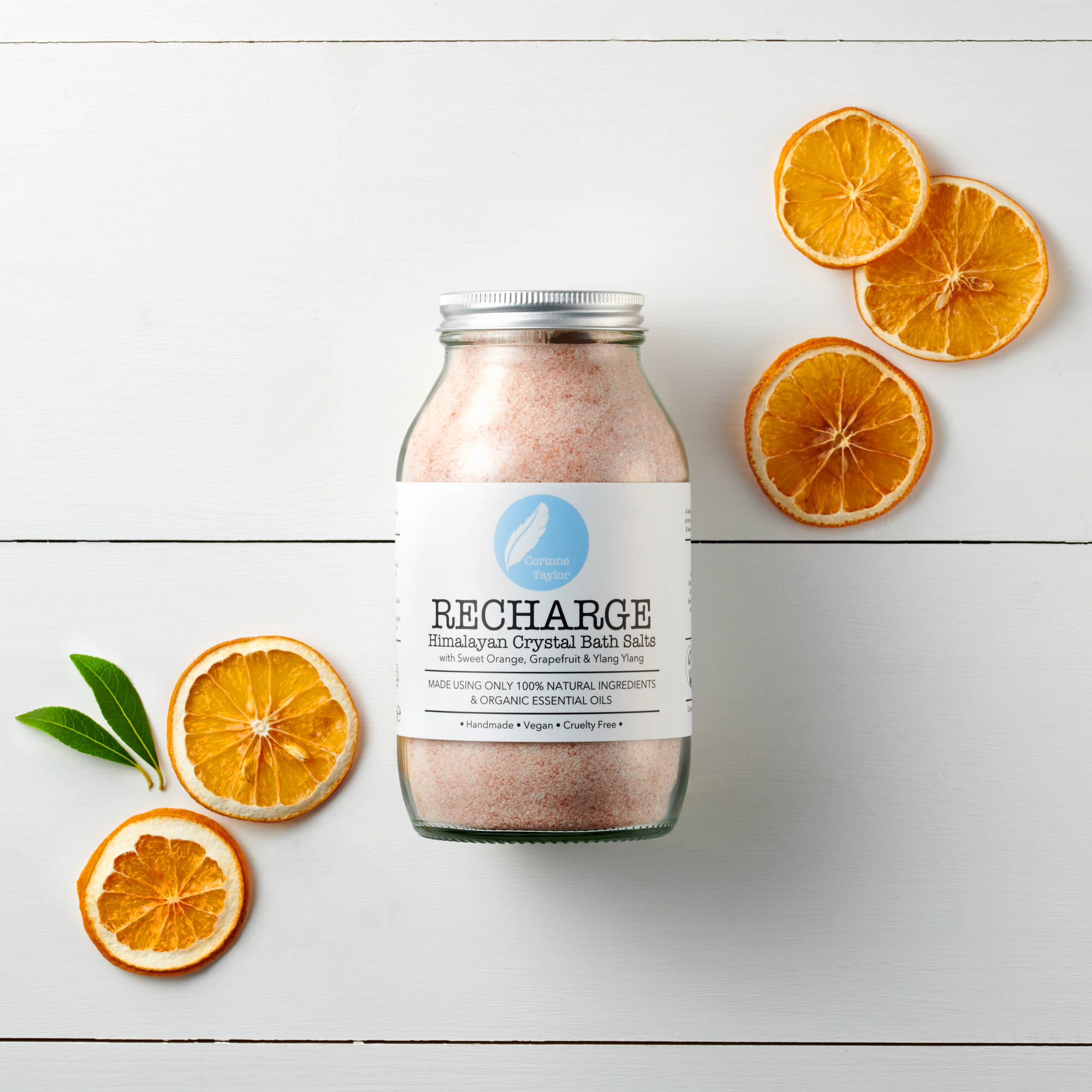 Recharge Himalayan Bath Salts by Corinne Taylor. 100% natural, vegan, cruelty free. With organic Grapefruit, Sweet Orange and Ylang Ylang essential oils.
