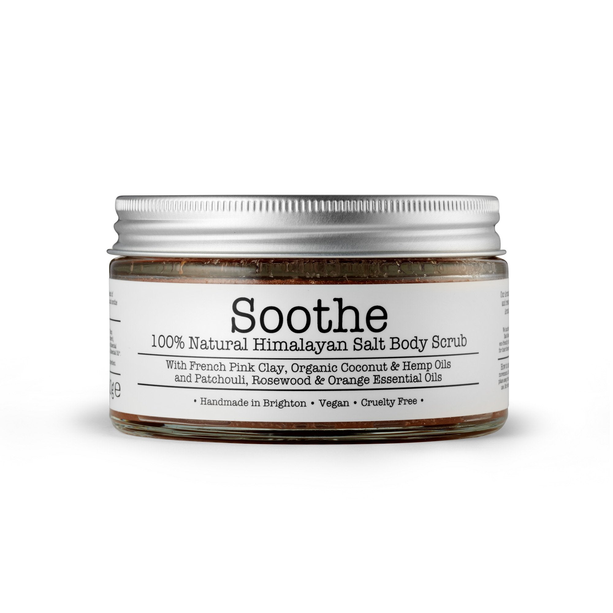Soothe Himalayan Salt Body Scrub by Corinne Taylor. Made with a combination of organic Coconut, Hemp and Sweet Almond Oils along with French Pink Clay, vitamin E and organic Rosewood, Patchouli, Sweet Orange and Lavender essential oils.