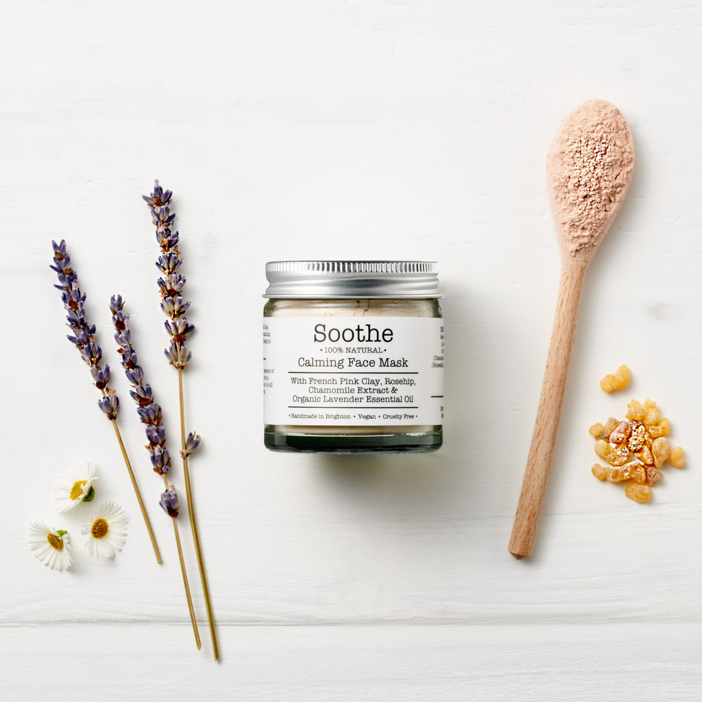 Soothe mineral botanical face mask by Corinne Taylor. 100% natural, vegan, plant based, cruelty free. Formulated with skin softening French Pink Clay, organic Rosehip Powder and a calming blend of organic Frankincense, Lavender and Chamomile essential oils.