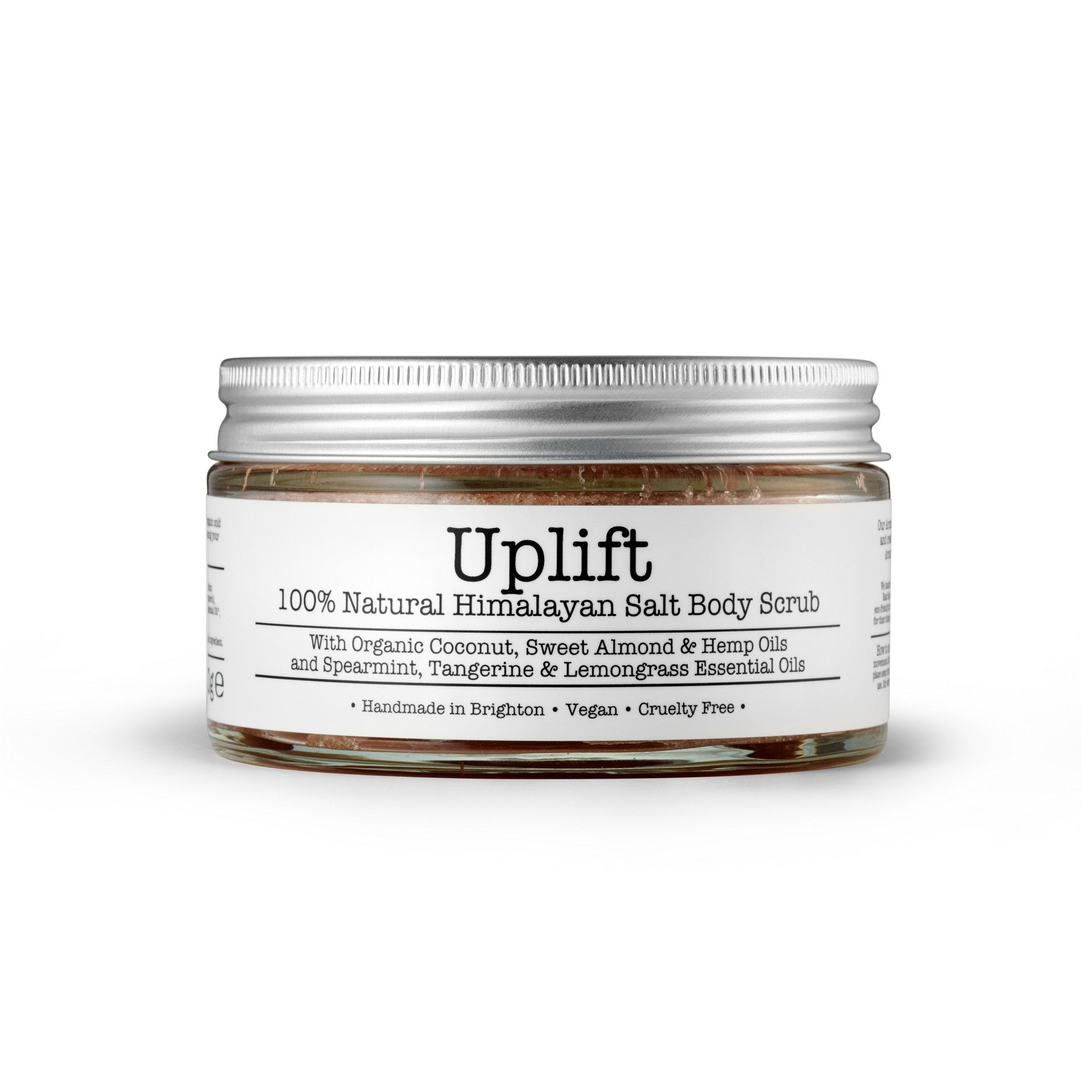Uplift Himalayan Salt Body Scrub by Corinne Taylor. 100% natural, vegan, plant based, cruelty free. Made with a combination of organic Coconut, Hemp and Sweet Almond Oils along with, vitamin E and organic Spearmint, Lemongrass, Tangerine & Peppermint essential oils.