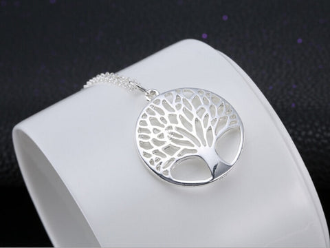 Fashion silver Tree Of Life Pendant Necklace 18 inch - Valentines Day jewelry - lessmoney.com