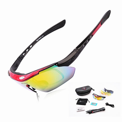 WOLFBIKE Polarized 5 Lens Cycling Eyewear Sun Glasses - lessmoney.com