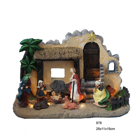 Christmas resin nativity house and figurines set, holy family figurine with led lights, B/O - lessmoney.com