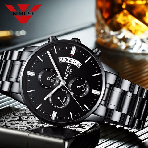 NIBOSI Relogio Masculino Men Watches Luxury Famous Top Brand Men's Fashion Casual Dress Watch Military Quartz Wristwatches Saat - lessmoney.com