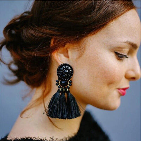 Luxury Bead Bohemian Long Tassel Earrings (7 Color Choice( - lessmoney.com