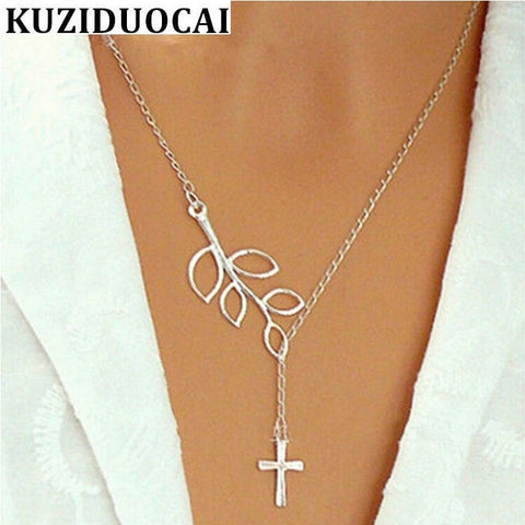 2019 New Hot !!! Fashion Jewelry Small Pure And Fresh Leaves Cross Necklaces & Pendants - lessmoney.com