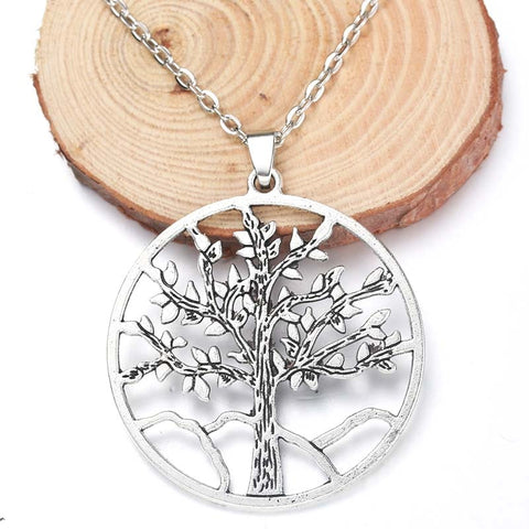 High Quality 43x45mm Tree of Life Pendant Necklace - Ancient Silver Living Tree for Men and Women - lessmoney.com
