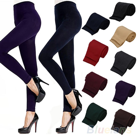 Warm Solid Color Thick Women's Stretch Thicken Skinny Leggings (Footless) - lessmoney.com