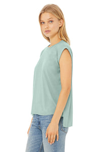 WOMENS FLOWY MUSCLE TEE DUSTY BLUE