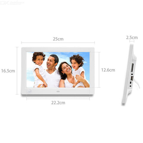 1012 10quot TFT Digital Photo Frame w/ Built-in Speaker / SD + Remote Control - White