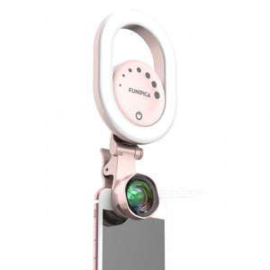 LIEQI 15X Wide Angle Clip-On Smartphone Camera Lens w/ Fill-In Light - Pink