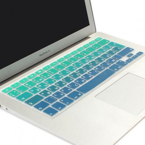 Silicone EU/UK Russian Version Alphabet Gradient Colors Keyboard Cover Stickers Protector For MacBook Air 13