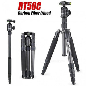 RT50C Carbon Fiber Tripod Monopod for DSLR Camera Light Portable Stand Compact Professional Tripe for GoPro RT50C