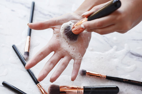 synthetic makeup brush cleaning