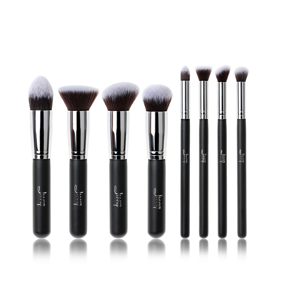 Jessup Brand Professional 8pcs Black/Silver Foundation blush Liquid Kabuki brush Makeup Brushes Tools set Beauty Cosmetics kit