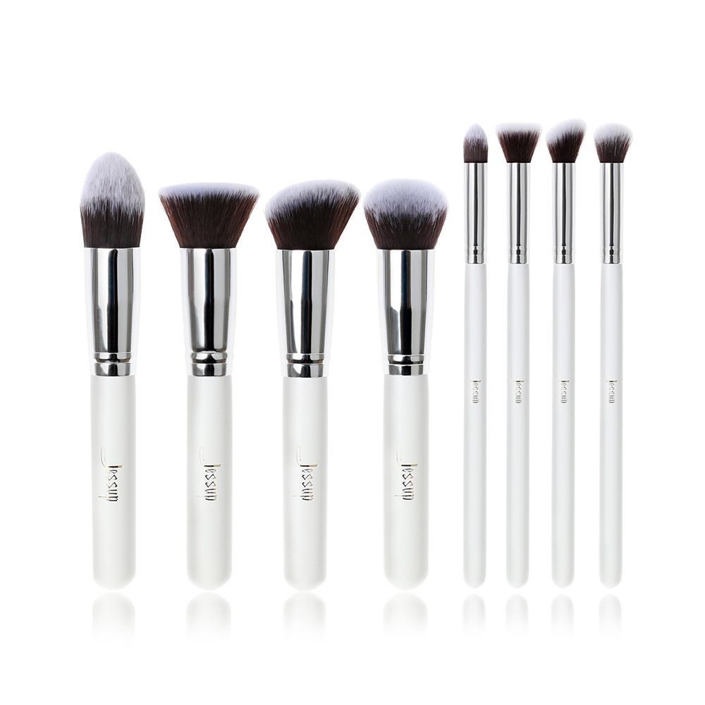 Jessup Brand Professional 8pcs White/Silver Foundation blush Liquid Kabuki brush Makeup Brushes Tools set Beauty Cosmetics kit