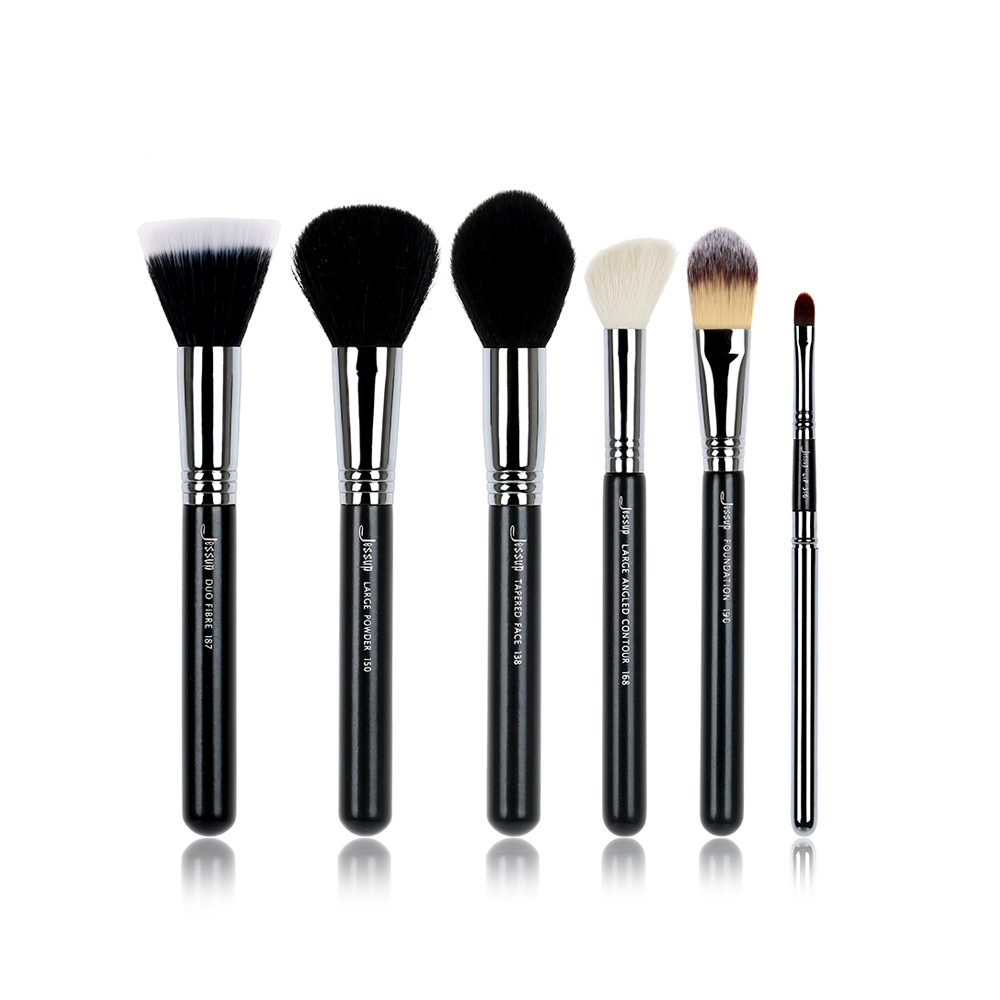 6pcs Professional Makeup Brushes Tools Set Powder Duo Fibre Tapered Face Foundation Contour Lip T108