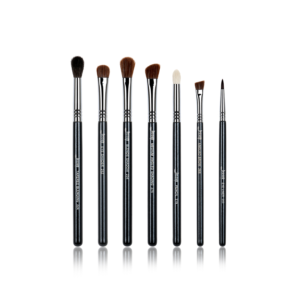 7pcs Black/Silver Professional Makeup Brush Sets Beauty tools Eyeliner Pencil Tapered Blending Make up Cosmetics kit