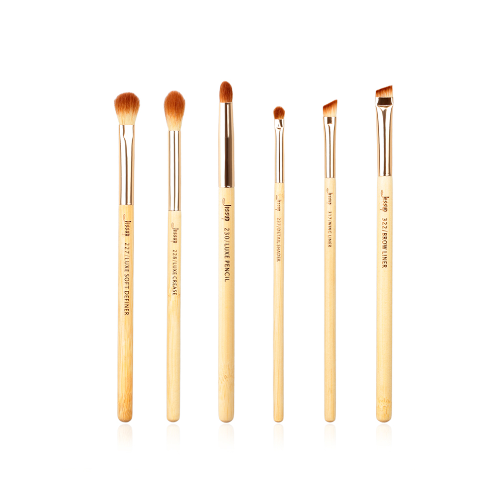 BAMBOO Eyes brushes Set 6Pcs - Jessup Beauty