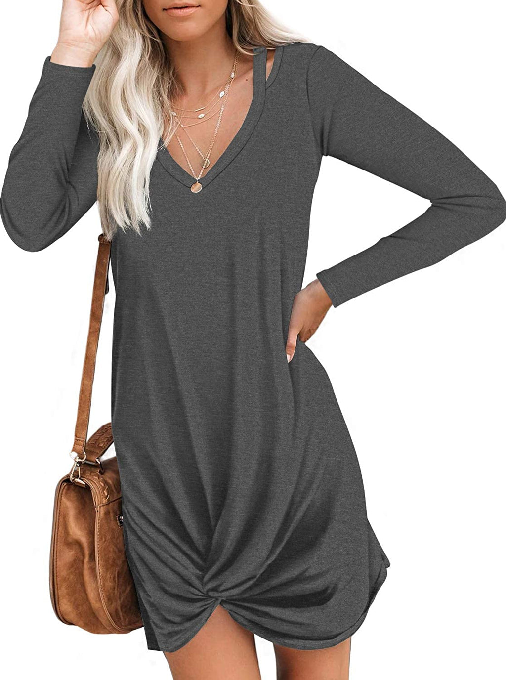 Women's Casual Short Sleeve V Neck Front Knot Twist Tie T Shirt | yesicafashion.com
