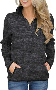 Women's Quarter Zip Pullover Sweatshirt | yesicafashion.com