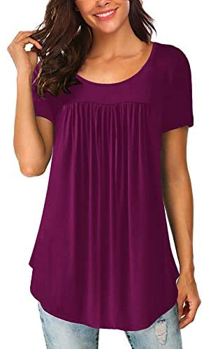 Women's Scoop Neck Pleated Blouse