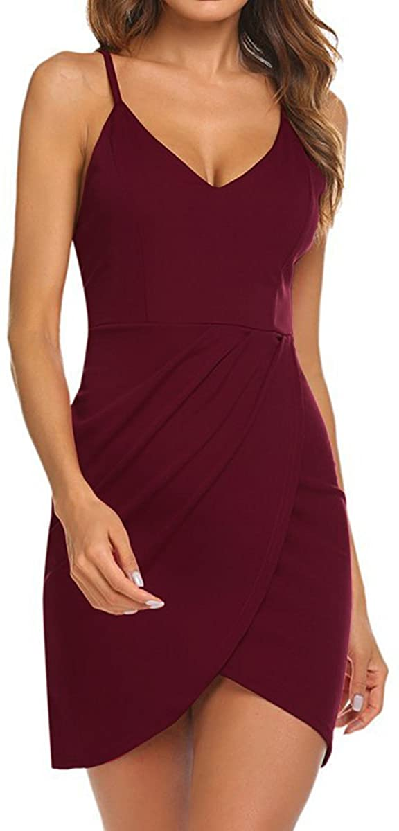 Spaghetti Strap Deep V Neck Dress