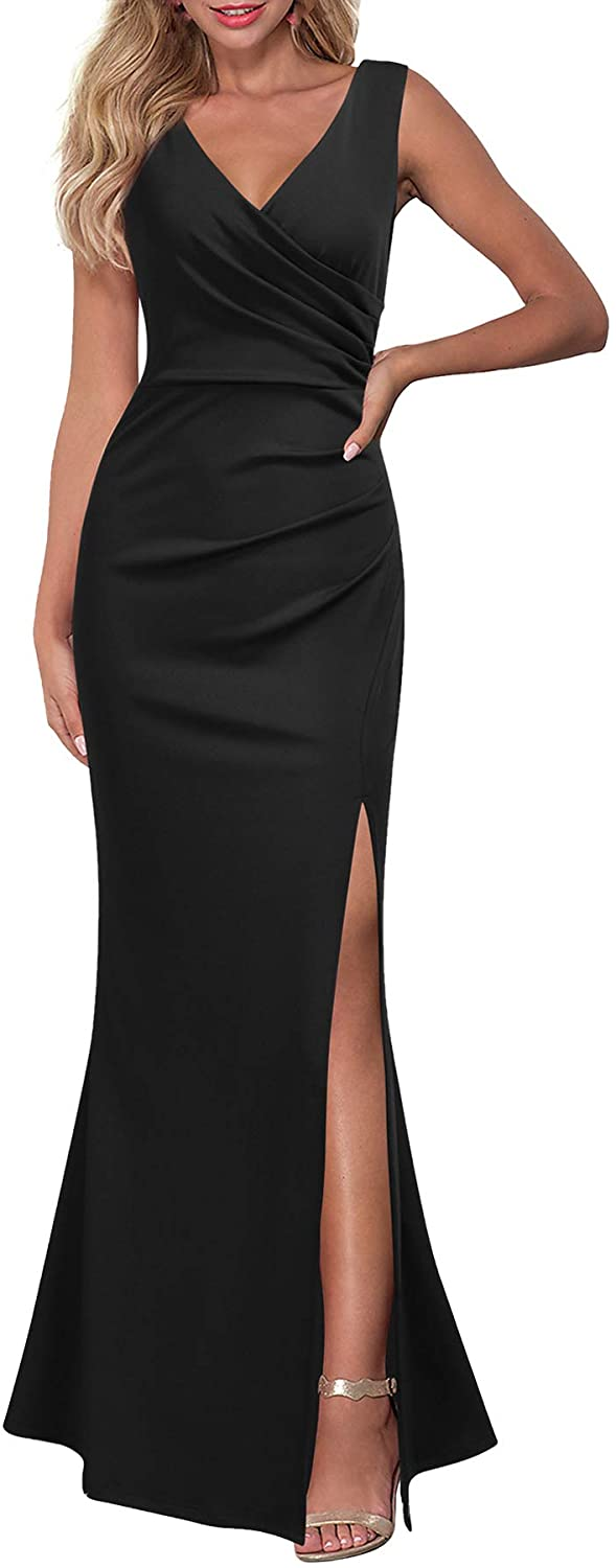 Sleeveless V Neck Split Evening Cocktail Long Dress | yesicafasnion.com