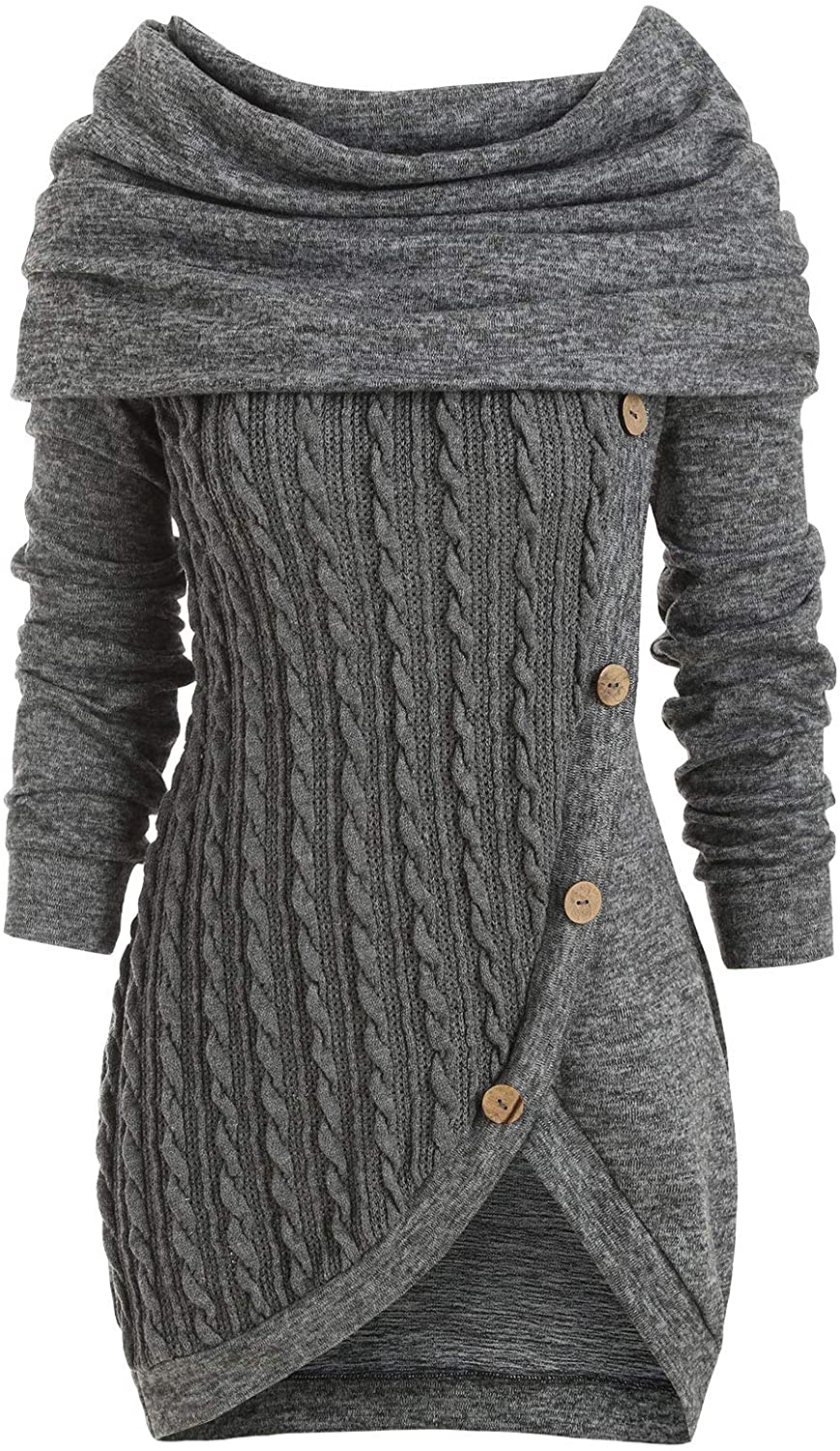Women's Hooded Cowl Neck Long Sleeve Button Pullover
