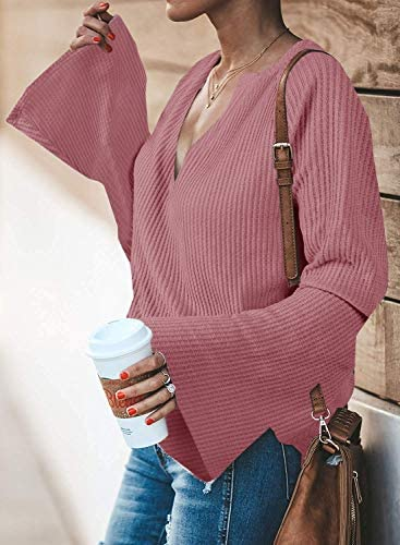 Women V Neck Waffle Knit Long Sleeve Pullover Sweater