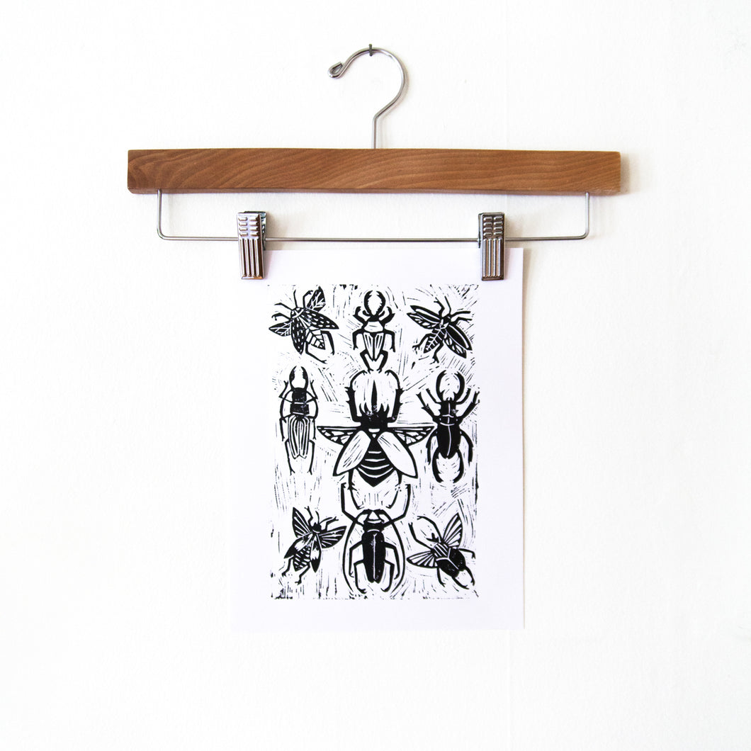 Beetles Block Print