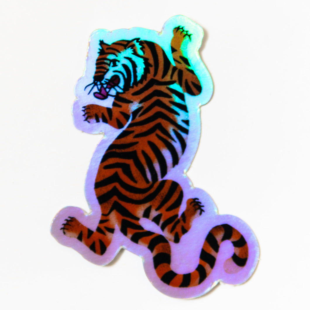 Hey Tiger Holographic Sticker
