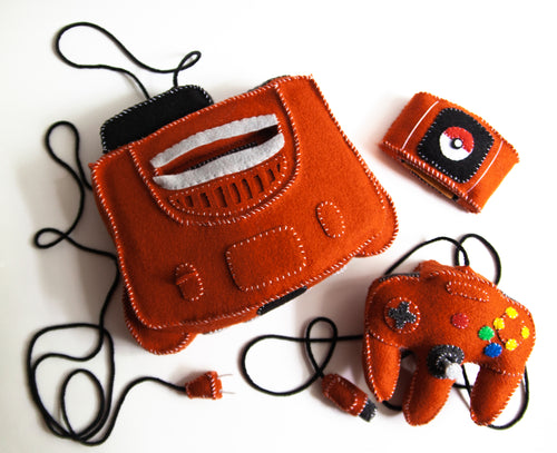 Felt Nintendo 64 Console, Controller, and Game Cartridge