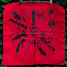 Load image into Gallery viewer, Good Vibes Only Bandana Red + Black