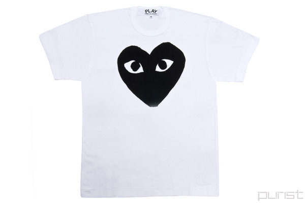 PLAY Black Heart White Tee
